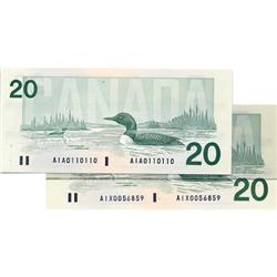 BANK OF CANADA.  $20.00.  1991 Issue.  BC-58a-ii.  Thiessen-Crow.  No. AIA0110110. A Radar note.  Un