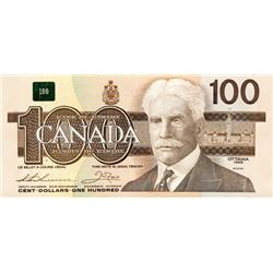 BANK OF CANADA.  $100.00.  1988 Issue.  BC-60a.  Thiessen-Crow.  No. AJV7023047.  Hidden BPN.  CCCS