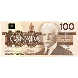 BANK OF CANADA.  $100.00.  1988 Issue.  BC-60a-i.  Thiessen-Crow.  No. BJD6459438. Clear BPN.  CCCS