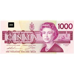 BANK OF CANADA.  $1000.00.  1988 Issue.  BC-61a.  Thiessen-Crow.  No. EKA13888893. Unc.
