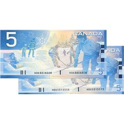 BANK OF CANADA.  $5.00.  2005 Issue.  BC-62b.  No. HOK8808808;  $5.00.  2005 Issue.  BC-62b.  No. HO