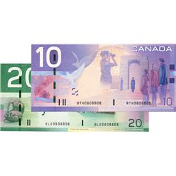 BANK OF CANADA.  $10.00.  2005 Issue.  BC-68b.  No. BTH0808808;  $20.00.  2004 Issue.  BC-64a-i.  No
