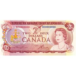 BANK OF CANADA.  $2.00.  1974 Issue.  BC-47a.  No. BE8000000.  PCGS graded Choice AU-58. PPQ.