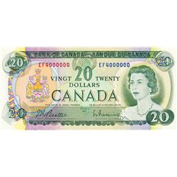 BANK OF CANADA.  $20.00.  1969 Issue.  BC-50a.  No. EF4000000.  PCGS graded Unc-62.  PPQ.