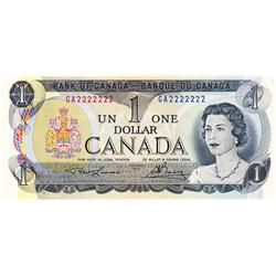 BANK OF CANADA.  $1.00.  1973 Issue.  BC-46a.  No. GA2222222.  A solid Radar note.  PCGS graded Choi