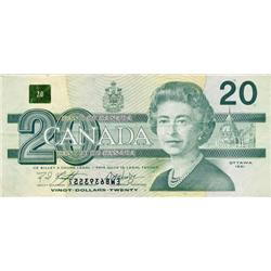 BANK OF CANADA.  $20.00.  1991 Issue.  BC-58b.  No. EWB6393551.  PMG graded Very Fine-25.  Offset pr