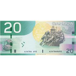 BANK OF CANADA.  $20.00.  2004 Issue.  BC-64a.  No. AZN7868693.  PMG graded Gem Unc-66. EPQ.  Missin