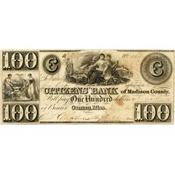 THE CITIZEN'S BANK of Madison County. Canton, Miss.  $100.00.  July 19, 1838.  No. 161/A.  Back plai