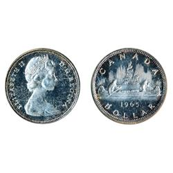 $1.00.  1965. Type Four.  Proof-Like-64. Heavy Cameo. Toned.