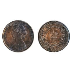 NEW BRUNSWICK.  One Cent.  1864. Long 6.  Re-Engraved '8' and '6' in date.  Mint State-62. Red-Brown
