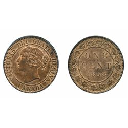 1858.  PCGS graded Mint State-64. Red-Brown.  65% or more remaining red luster.  A choice 'key' date