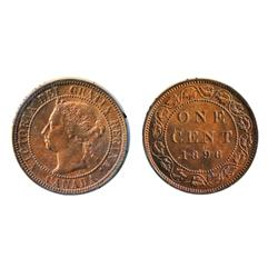 1896.  ICCS Mint State-63. Red and Brown.  50% remaining luster.