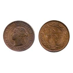 1897.  ICCS Mint State-62. Red-Brown.  20% luster on obverse.  50% red luster on reverse.