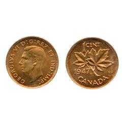 1947. Maple Leaf.  Blunt 7 variety.  ICCS Mint State-65. Red.  90% luster.  A Gem.