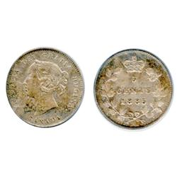 1885. Small 5.  The '5' has been double-punched.  PCGS graded AU-55.  Light to medium toning.