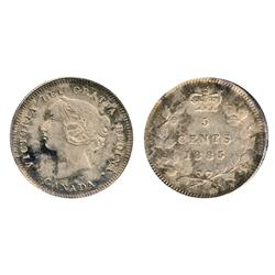 1885. Large 5.  ICCS Mint State-65.  Boldly struck and powerful luster that grants the coin elegant