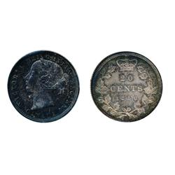 TWENTY CENTS.  1858.  ICCS Mint State on the obverse with lighter shades of gray on the reverse.  Ve