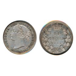 TWENTY CENTS.  1858.  PCGS graded Extra Fine-45.  Light to medium heavy toning.