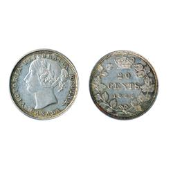 TWENTY CENTS.  1858.  Extra Fine-45.  Strong strike.  Lightly toned.