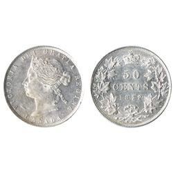 1872-H.  ICCS AU-55.  A frosty and fully brilliant Victorian fifty cents piece.  A very near mint st