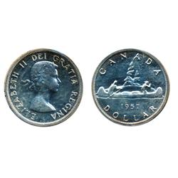 1957. One Water Line.  ICCS Proof-Like-65.  A rare variety in proof-like.  A lustrous Gem with a tra