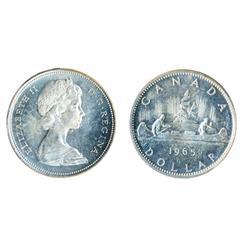 1965. Type Three.  ICCS Mint State-65.  Light blue toning.  A Gem.