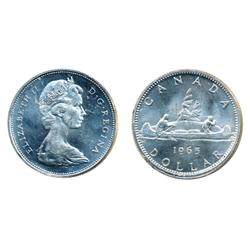 1965. Type Five.  ICCS Mint State-64.  Lot of two (2) dollars.  Both brilliant.