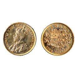 $5.00 Gold.  1912.  ICCS Mint State-60.  Brilliant, lustrous orange luster.