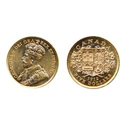 $5.00 Gold.  1912.  ICCS AU-55.  Lustrous yellow with a touch of gold.