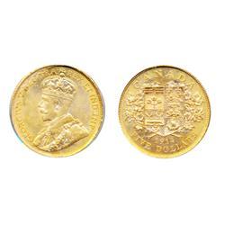 $5.00 Gold.  1914.  PCGS graded Mint State-62.  Light orange-yellow luster.