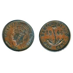 ONE CENT.  1944-C.  ICCS AU-50.  Traces of luster.  FIVE CENTS.  1919-C.  VF-30.  Lightly toned.