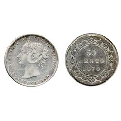 TEN CENTS.  1946-C.  ICCS MS-60;  FIFTY CENTS.  1870.  ICCS Fine-15.  Both lightly toned.