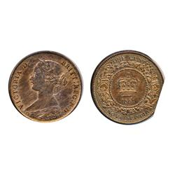 NEW BRUNS.  One Cent.  1861.  Mint State-60.  40% luster.  NOVA SCOTIA.  One Cent.  1861. Small Bud.