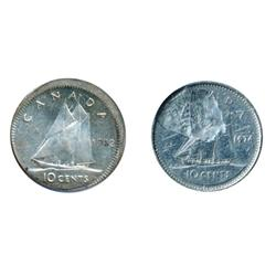Ten Cents.  1962.  Struck Off-Center 20% at 1:00 o'clock.  Mint State;  1974.  Struck on a defective