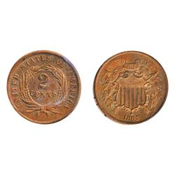 TWO CENTS.  1865.  ICCS Mint State-63. Red.  65% red luster.