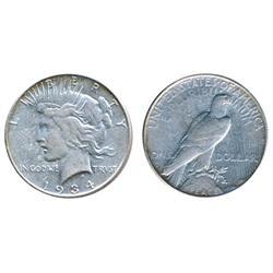 Peace Dollar.  1934-S.  AU-50.