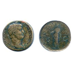 ANCIENT.  Sestertius.  Hadrian. AD 117-138.  Diana standing. RIC-777.  BMC-1545.  About Fine.