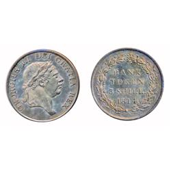 GREAT BRITAIN.  Bank of England.  Three Token Shillings.  1814.  KM#Tn5.  George III.  Lightly toned