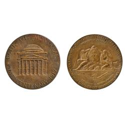 Obv: BANK OF MONTREAL/1817 CENTENARY 1917. Building;  Rev: Shield, with two Indians.  Copper.  34mm.
