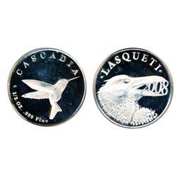 Lasqueti Mint.  1997/2007.  Obv: LASQUETI/1997/2007. Frog.  Rev: CASCADIA. 1/2 oz. .999 Fine. Hummin