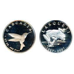 Lasqueti Mint.  Obv: LASQUETI/2008.  Crow eating date.  Rev: CASCADIA. 1/2 oz.  .999 Fine.  Hummingb