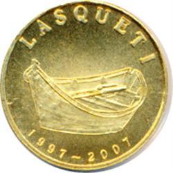 Lasqueti Mint.  2007. Obv: Dory. LASQUETI/1997-2007. Rev: 1/10 oz./.9999 Gold.  Marijuana plants. (C