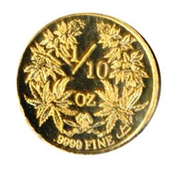 Lasqueti Mint.  2009. Obv: Dory. LASQUETI/2009. Rev: 1/10 oz./.9999 Fine Mammoth Gold.  Marijuana pl