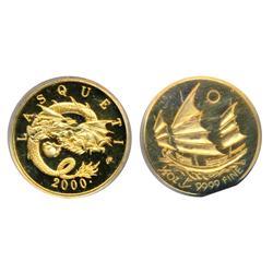Lasqueti Mint.  2000. (Dot). Counterstamp M.T.G. (Mammoth Tusk Gold).  1/2 oz. .9999 Fine Gold.  Obv