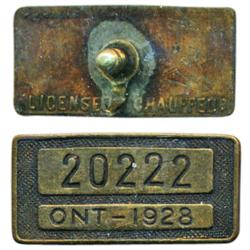 Ontario Chauffeur's Badge.  Brass.  Obv: No. 20222. Ont. 1928.  Rev: License Chauffeur/pin.