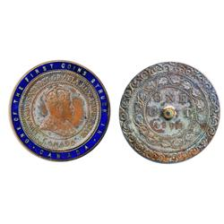 1908 Canadian Large Cent encased in a small brass ring and enameled in blue.  'One of the First Coin