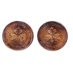 TEST Token.  One Cent. No Date. CH-TT-1.3C. Round, with Beads. French/English legends.  CCCS graded