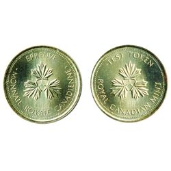 TEST Token.  $1.00.  CH-TT-100.1.  Round Large size.  Three Maple Leaves.  1983.  Counterstamped 'C.