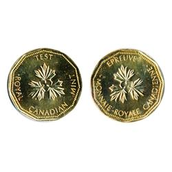 TEST Token.  $1.00.  CH-TT-100.12.  Gold plated on nickel.  11 sided. Narrow rims.  Mint State-63.