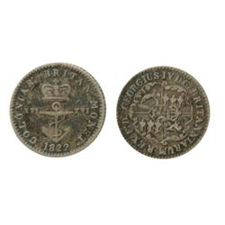 Breton-860.  British Colonies.  Anchor Money.  $1/16.  1822.  ICCS Fine-15.